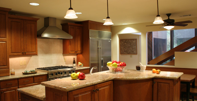 Kitchen remodeling projects - Jun home. Custom shape kitchen island.